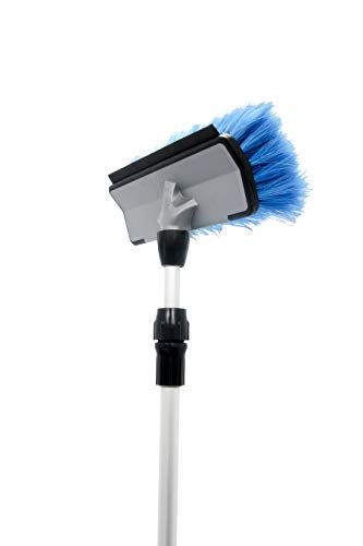 Camco RV Flow-Through Wash Brush with Adjustable Handle and Integrated Squeegee 43633
