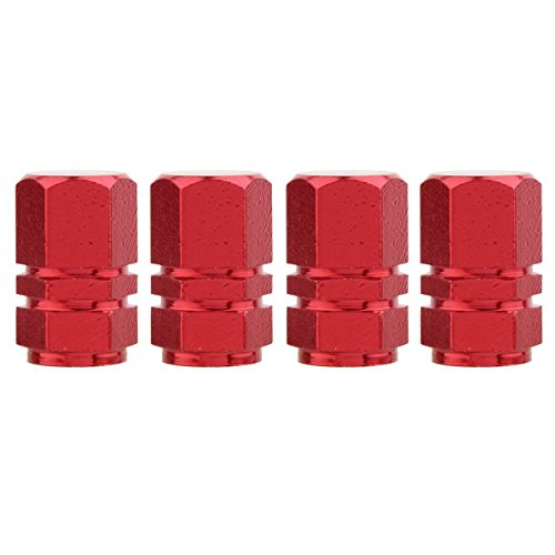 TOMALL Red Hexagon Tire Valve Stem Caps Aluminum Alloy for Moto Bicycle Dustproof Caps