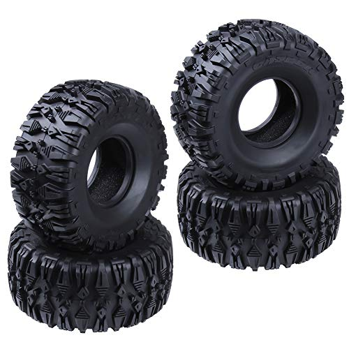 "Hobbypark 2.2"" Tires w/Foam Fit Beadlock Wheel Rims for 1/10 RC Rock Crawler Climbing Car TRX4 SCX10 D90 Tyres 4-Pack Type 1"