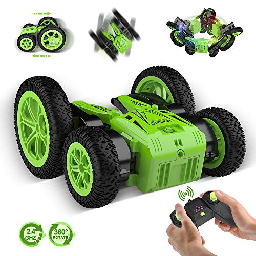 Lanpn RC Stunt Cars for Kids 1:24 4WD Remote Control Car Toy, 2.4GHz Rechargeable Hobby RC Crawlers, Double Sided Rotating Race Car with Led Head-lights, Birthday/Christmas for Boys and Girl