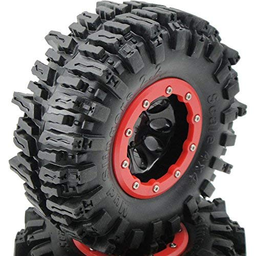 hobbysoul 4pcs RC Rock Crawler 2.2 Mud Slingers Tires Sticky Tyers OD 124mm & 2.2 Beadlock Wheel Rim Hex 12mm for RC Crawlers Truck