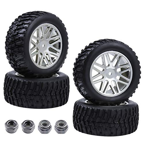 Hobbypark 4PCS 92mm RC Rally Car Chrome Wheels and Tires w/Foam Inserts 12mm Hex Hub for 1:10 Scale