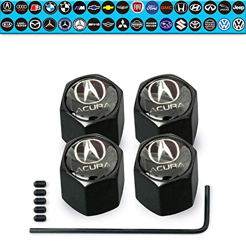 Custom Tire Valve Stem Caps 35 Vehicle Models Anti-Theft Hexagon Design | Car, Truck, SUV | Leakproof, Airtight, Dustproof Seal | All-Weather, Lock Tight Fit for Acura Vehicles