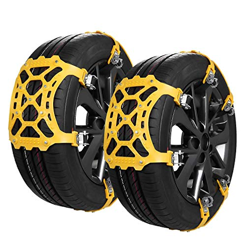 "SUPTEMPO Snow Chains, 6 Set Emergency Anti Slip Tire Chains with Upgrade TPU Car Snow Chain for Trucks Minivan Pickup SUV/ATV/UTV Winter Universal Tires 6.5""-10.8""165mm-285mm"