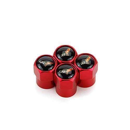 TK-KLZ 5Pcs Car Wheel Tires Valve Stem Caps for Chevrolet Corvette C6 Decorative Accessory