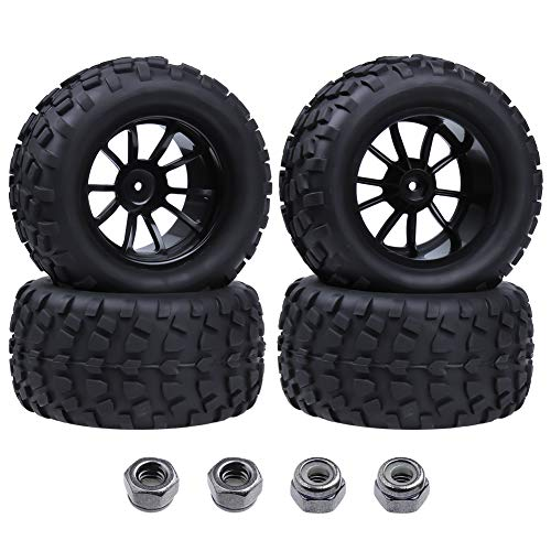Hobbypark Tires and Wheels 12mm Hub 1:10 Off Road Monster Truck Tyre with Foam Inserts 4-Pack
