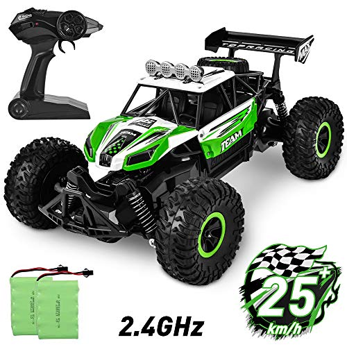 Flywind Offroad Monster RC Car for Kids, 2.4Ghz High Speed Remote Control Car 1/16 Scale Offroad RC Trucks with Two Rechargeable Batteries, Electric Racing Toy Car for Kids Boys Adults Green