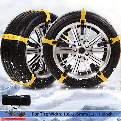 PrettyQueen SUV Car Snow Chains for Trucks Cars Snow Tire Chains for SUV Anti Slip Tire Chain Adjustable Snow Tire Cable Mergency Car Chains 185-295mm/7.2-11.6'' Black 3