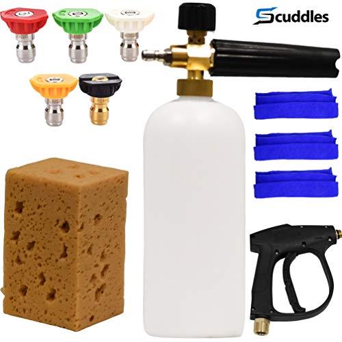 scuddles Foam Cannon Car Wash Kit Includes Gun Foam Lance for Detailing Cars Trucks Or SUVS Pressure Washer Jet Complete Detailing Set
