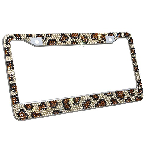 TASIRO Pure Handmade Waterproof 7 Row Bling Bling Rhinestones Metal Stainless Steel License Plate Frame 2 Holes Bonus Matching Screws Caps leopard print