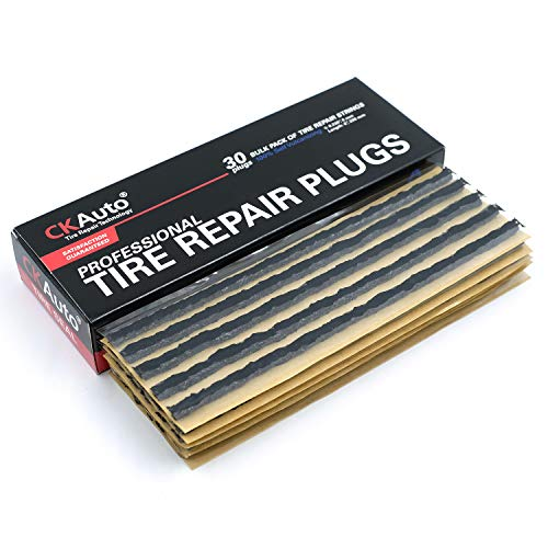 CKAuto 30pcs Black Tire Repair Strings, Automotive Tool Tire Repair Plugs for Tubeless Off-Road Tires Car, Bike, ATV, UTV, Wheelbarrow, Mower