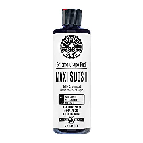 Chemical Guys CWS_1010_16 Maxi-Suds II Super Suds Car Wash Soap and Shampoo, Grape Scent 16 oz