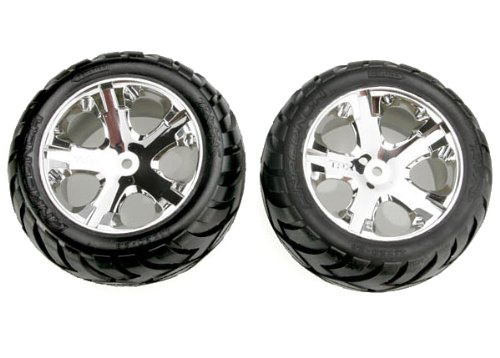 Traxxas 3773 Anaconda Tires Pre-Glued on All Star Chrome Wheels pair electric rear