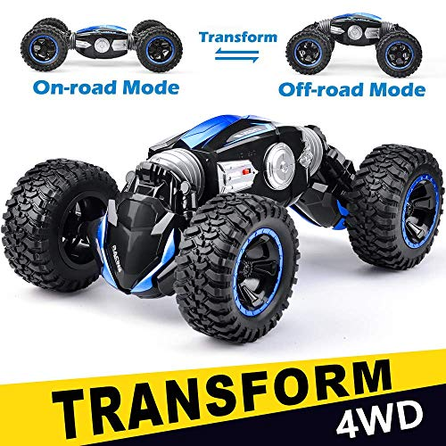 NQD RC Car Off-Road Vehicles Rock Crawler 2.4Ghz Remote Control Car Monster Truck 4WD Dual Motors Electric Racing Car, Kids Toys RTR Rechargeable Buggy Hobby Car Blue