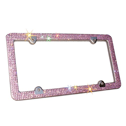 TASIRO 8 Row Pure Handmade Bling Bling Rhinestones Stainless Steel Car License Plate Frame with 4 Holes Bonus Matching Screws Caps Crystal Pink