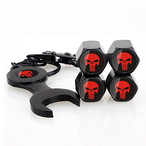 INCART Universal Punisher Tire Caps Stainless Steel 4pcs Car Tire Caps Car Valve Stem Air Cover Caps + 1pcs Keychain Red Punisher Fashion Style Cool Skull Black