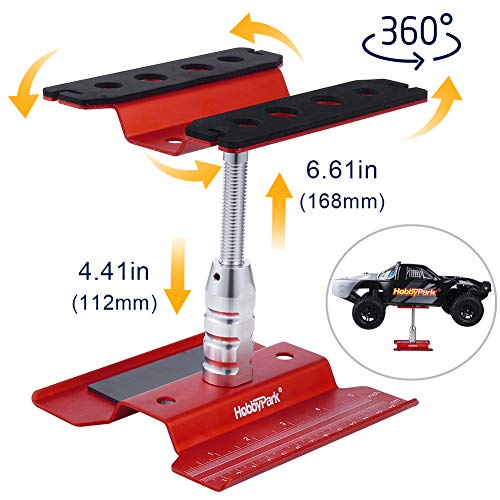 Hobbypark Aluminum RC Car Work Stand Repair Workstation 360 Degree Rotation Lift for 1/8 1/10 1/12 Scale Crawler Truck Buggy Traxxas TRX4 Axial SCX10 Arrma Redcat Gen7 Gen8