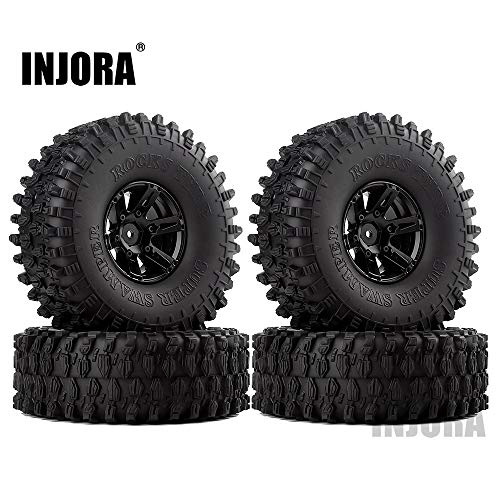INJORA 1.9 Beadlock Wheels and Tires/1.9 Crawler Tires and Wheels Rim Set 120mm for 1/10 Scale RC Crawler Axial SCX10 II 90046 90047 TRX4,4Pcs/Set Black