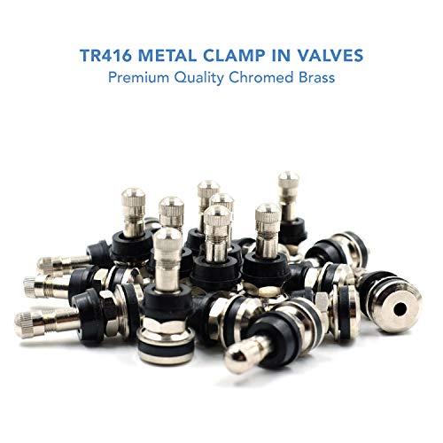"CKAuto 25 Pieces TR416 Metal Valve Stems Outer Mount Fits .453"" & .625"" Rim Holes Long 1 1/2"", Silver"
