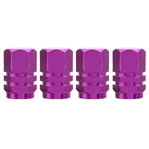 TOMALL Hexagon Style Purple Tire Valve Stem Caps for Auto Car Van