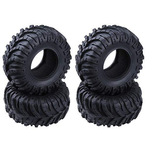 Hobbypark OD 128mm 2.2 inch Tires with Foam Inserts Beadlock Wheel Rims Tyres for 1/10 RC Rock Crawler Truck Replacement 4-Pack