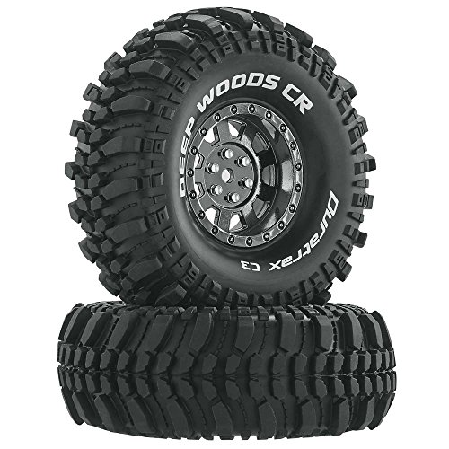"""Duratrax Deep Woods RC Rock Crawler Tires with Foam Inserts, C3 Super Soft Compound, High Traction, 1.9"""", Black Chrome Set of 2"""