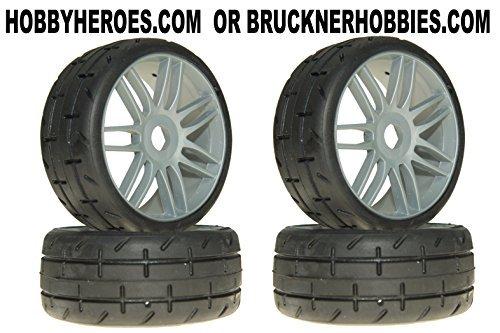 GRP GTK01-S7 T01 REVO S7 MediumHard Mounted Belted Tires 4 1/8 Buggy Spoke SILVER