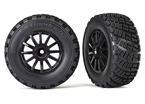 Traxxas 7473T Pre-Glued Black Wheels with Gravel Pattern Tires, TSM Rated Sold As Pair Vehicle