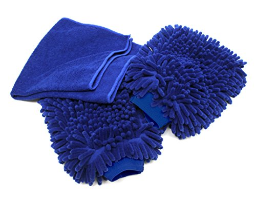 2-Pack - Premium Car Wash Mitt - Use Wet or Dry, - Free Polishing Cloth, High Density, Ultra-soft Microfiber Wash Glove, Lint Free, Scratch Free