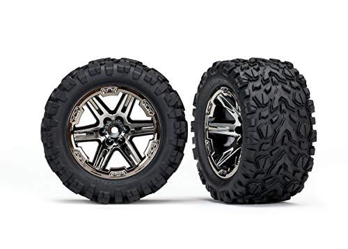 Traxxas 6773X - Rustler 4x4 Tires & Wheels, Assembled, glued 2.8' RXT Black Chrome Wheels, Talon Extreme Tires, Foam Inserts 2 TSM Rated