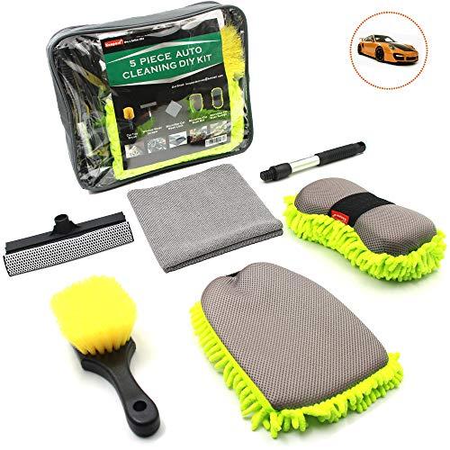 Konpard Car Wash Kit - 5Pcs Car Cleaning Tools Kit with Tool Box Car Wash Mitt Wash Sponge Tire Brush Window Water Blade Brush