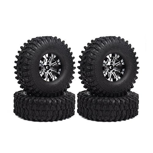 INJORA 120MM Tires & Metal Alloy Beadlock Wheels for 1/10 RC Crawler,1.9 inch Wheel & Tires Set for Traxxas TRX4 Axial SCX10 D90