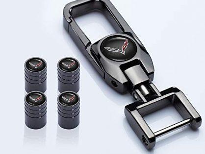 HEY KAULOR 5 Pcs Metal Car Wheel Tire Valve Stem Caps Suit for Chevrolet Corvette with Key Chain Styling Decoration Accessories