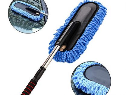Car Wash Brush Duster, XINDELL Microfiber Car Wheel Window Detailing Brush Mitt Cleaner Soft Head Scraper Hose Attachment for Interior Exterior Vehicle Wash with Extendable Long Handle Soap Dispenser