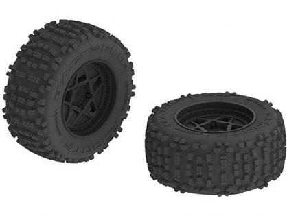 "ARRMA AR510092 Dboots Backflip 3.8"" Mt 6S RC Monster Truck Tire with Foam Insert, Mounted On Multi-Spoke Wheel 17Mm Hex, Black Set of 2"