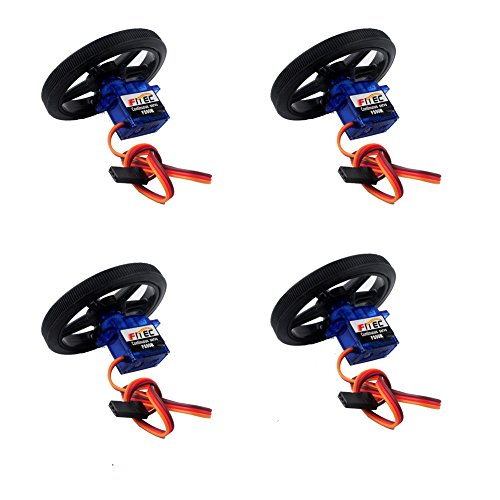 Geekstory Feetech FS90R 360 Degree Continuous Rotation Micro Servo Motor + RC Tire Wheel for Arduino Micro:bit Pack of 4