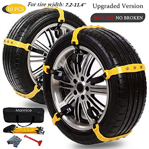 Car Chains for Car Anti Slip Universal Size for Most Cars Pack of 10 Orange, For tire width:7.2-11.4 inches185mm-290mm