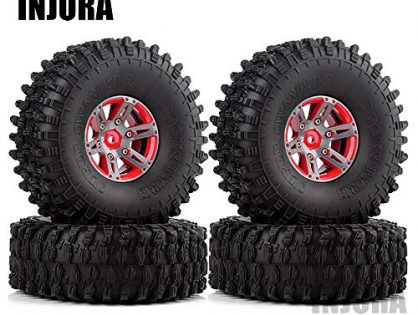 INJORA 1.9 Beadlock Wheels and Tires/1.9 Crawler Tires and Wheels Rim Set 120mm for 1/10 Scale RC Crawler Axial SCX10 II 90046 90047 TRX4,4Pcs/Set Red