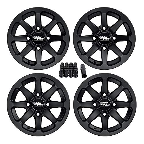 Set of 4 - RockTrix RT102 12in ATV Wheels 4x110 Rims | 12x7 | 5+2 F and 2+5 R Offset | Includes 10x1.25 Spline Lug Nuts - Works with SRA Honda Foreman 400 450 500, Rancher 350 400 420 Solid Rear Axle