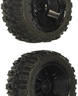 """Proline Trencher 2.2"""" M2 Medium All Terrain Tires Mounted for 1:16 E-REVO, 1:16 Summit and Savage XS Flux Front and Rear, Mounted on Desperado Black Wheels"""