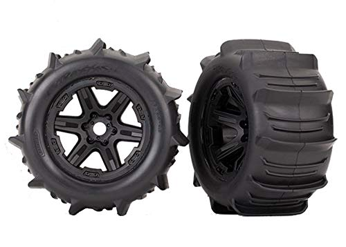 Tires & Wheels, Assembled, glued Black 3.8' Wheels, Paddle Tires, Foam Inserts 2 TSM Rated - Traxxas 8674