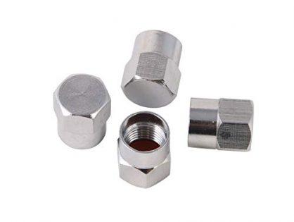 Silver Brass Valve Stem Caps Covers - RockTrix - Universal Application - Rubber Seal, Leak-Proof Air Protection, Heavy Duty - 4 Pieces