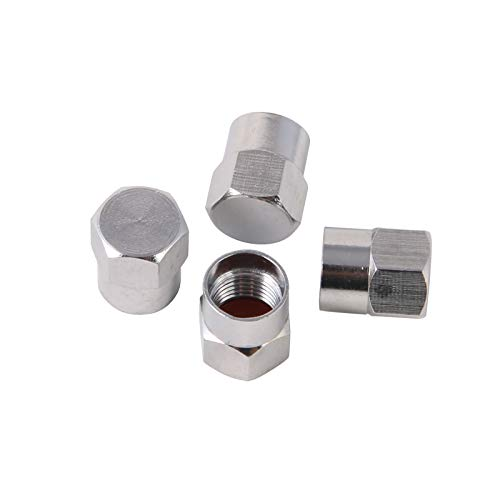 Silver Brass Valve Stem Caps Covers - RockTrix - Universal Application - Rubber Seal, Leak-Proof Air Protection, Heavy Duty - 4 Pieces
