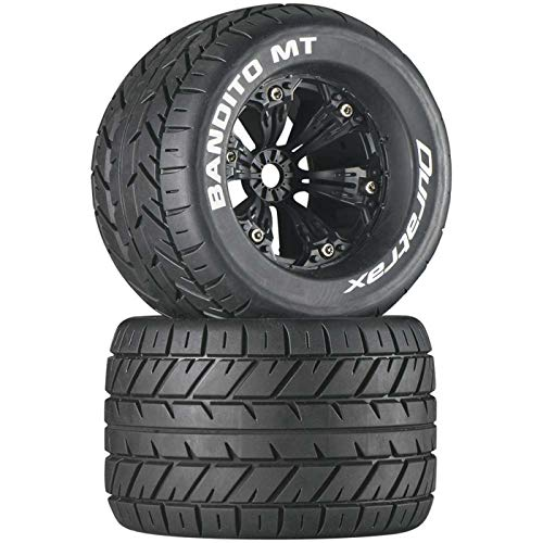 "Duratrax Bandito MT 3.8"" RC Monster Truck Tires with Foam Inserts, CS Sport Compound, Mounted on 1/2"" Offset Black Wheels Set of 2"