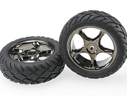 "Traxxas 2479A Anaconda Tires Pre-Glued on 2.2"" Black-Chrome Tracer Wheels,  Bandit Front pair"