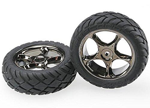 "Traxxas 2479A Anaconda Tires Pre-Glued on 2.2"" Black-Chrome Tracer Wheels,  Bandit Front pair"