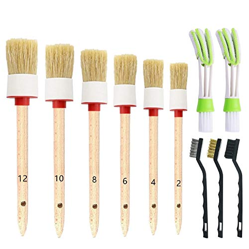 ONEST 11 Pieces Auto Detailing Brush Set for Cleaning Wheels, Interior, Exterior, Leather, Including 6 pcs Premium Detail Brush White, 3 pcs Wire Brush and 2 pcs Automotive Air Conditioner Brush