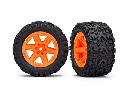 "Traxxas 6773A 2.8"" Orange RXT Wheels with Talon Extreme Tires Rustler 4X4 F/R"