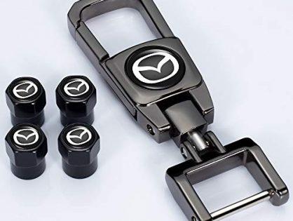 Kaolele 5 Pcs Tire Valve Stem Caps for Mazda 3 Axela 6 ATENZA MX-5 CX-3 CX-4 CX-5 with Key Chain Styling Decoration Accessories