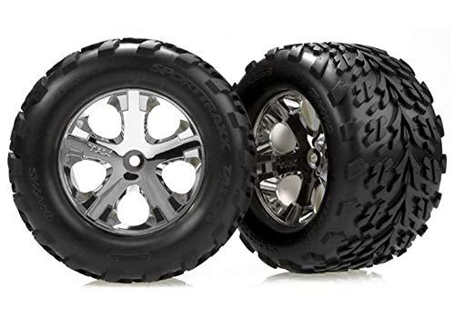 "Traxxas 3668 Talon Tires Pre-Glued on 2.8"" Chrome All Star Wheels, Electric Rear pair"